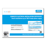 ELECSA Domestic Electrical Installation Certificate - Small installations up to 100 A single phase supply - DCE18