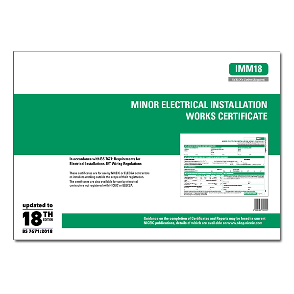 Minor Electrical Works Certificates 18th Edition